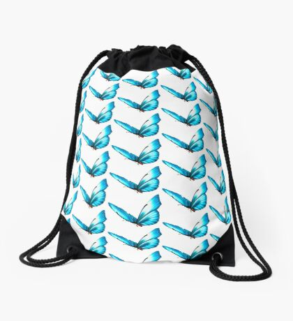 Blue Butterfly Drawstring Bag