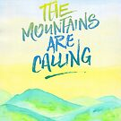 The Mountains Are Calling Yellow Blue Sky Watercolor Painting by Beverly Claire Kaiya