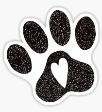 Pawprint with heart Sticker