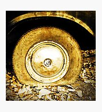 Vintage old wheel of classic car Photographic Print