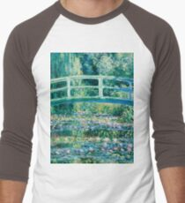 1899-Claude Monet-Water Lilies and Japanese Bridge Men's Baseball ¾ T-Shirt