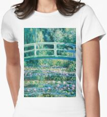 1899-Claude Monet-Water Lilies and Japanese Bridge Womens Fitted T-Shirt