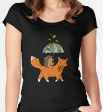 Hedgehog and fox Women's Fitted Scoop T-Shirt