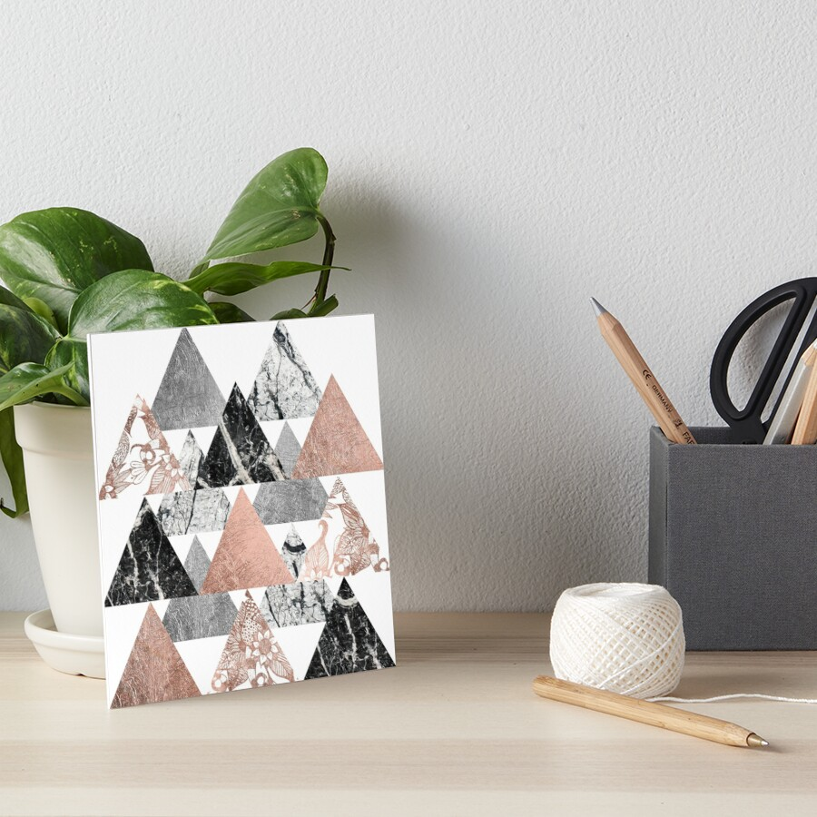 Buy marble rose gold silver and floral geo triangles rectangular - Marble Rose Gold Silver And Floral Geo Triangles By Blkstrawberry