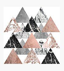 Marmor Rose Gold Silber und Floral Geo Dreiecke Fotodruck