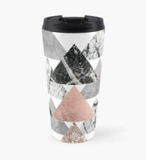 Taza de viaje Marble Rose Gold Silver and Floral Geo Triangles