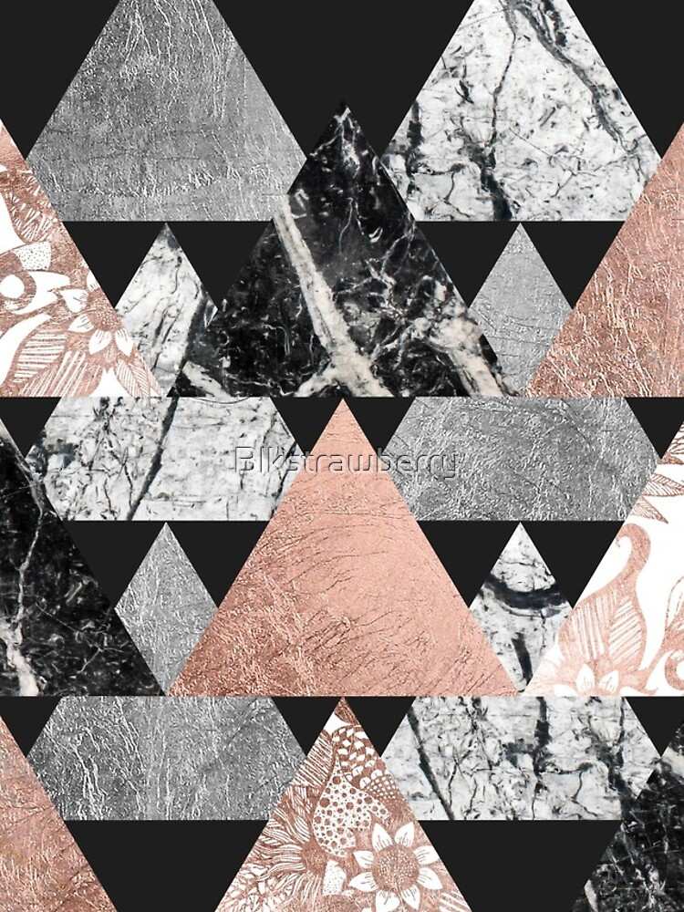 Marble Rose Gold Silver y Floral Geo Triangles de Blkstrawberry