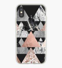 Marmor Rose Gold Silber und Floral Geo Dreiecke iPhone-Hülle & Cover