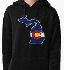 Michigan outline Colorado flag Pullover Hoodie