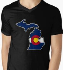 Michigan outline Colorado flag Men's V-Neck T-Shirt