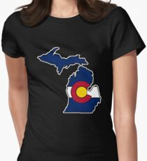 Camiseta entallada Escudo de Michigan bandera de Colorado