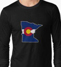 Minnesota outline Colorado flag Long Sleeve T-Shirt