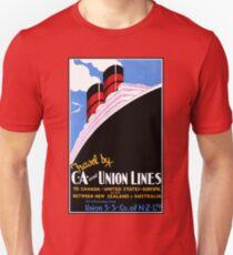 Vintage ocean travel New Zealand USA Canada Europe advert Unisex T-Shirt