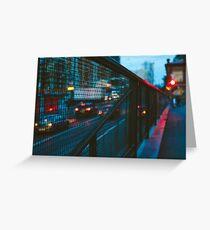 Blurred car lights Greeting Card
