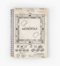 Monopoly Board Game US Patent Art 1935 Spiral Notebook