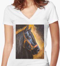 Fern, Percheron Draft Horse Women's Fitted V-Neck T-Shirt