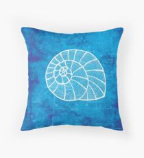 Conch, Illustration Over Nautical Map Throw Pillow