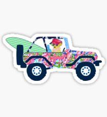 Preppy Jeep Golden Retriever Puppy - Island Vacation Sticker