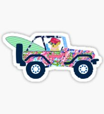 Adrette Jeep Golden Retriever Welpe - Insel Urlaub Sticker