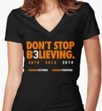 DON'T STOP B3LIEVING 2014 Women's Fitted V-Neck T-Shirt