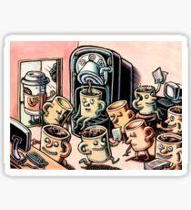 Coffee Mug People in Office Sticker
