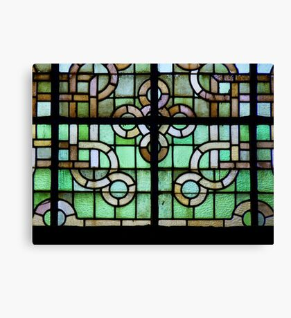 Pattern on stained glass window Canvas Print