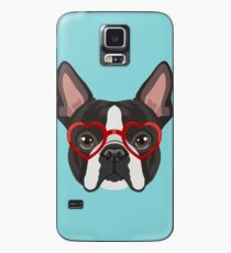 Boston Terrier Dog Hipster Glasses Case/Skin for Samsung Galaxy