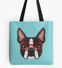 Boston Terrier Dog Hipster Glasses Tote Bag