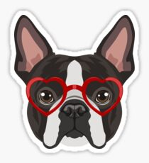 Boston Terrier Dog Hipster Glasses Sticker