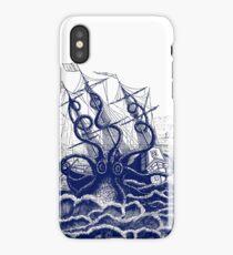 Kraken Octopus attacking ship engraving illustration iPhone Case/Skin