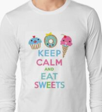 Keep Calm and Eat Sweets- Notebooks and Tshirts Long Sleeve T-Shirt