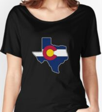 Texas outline Colorado flag Women's Relaxed Fit T-Shirt