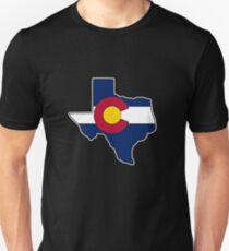Texas outline Colorado flag Unisex T-Shirt