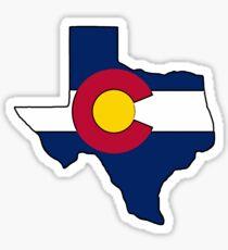 Texas outline Colorado flag Sticker