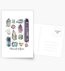 Gemstones and Minerals Kunstdruck Aquarell Edelsteine und Kristalle | Handbemalte Halbedelsteine | Geologie Dekor Druckbare Wandkunst Postkarten