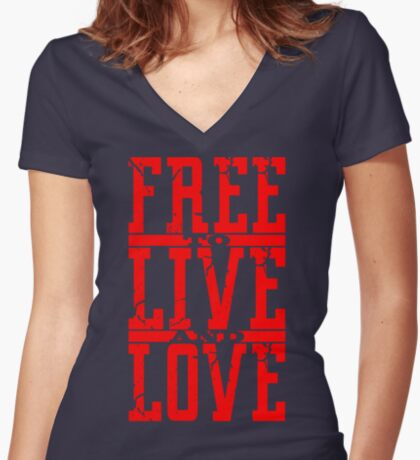 FREE to LIVE and LOVE Women's Fitted V-Neck T-Shirt