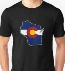 Wisconsin outline Colorado flag Unisex T-Shirt