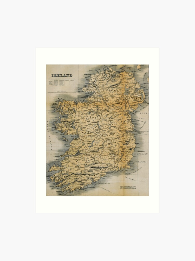 Small Map Of Ireland.Old Style Map Of Ireland Art Print