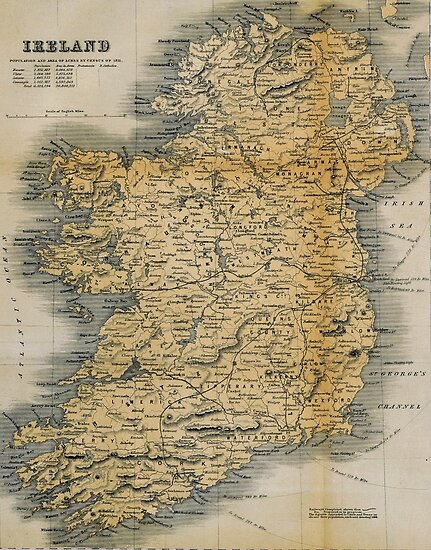 Map Of Ireland Poster.Old Style Map Of Ireland Posters By Graysquirrel Redbubble