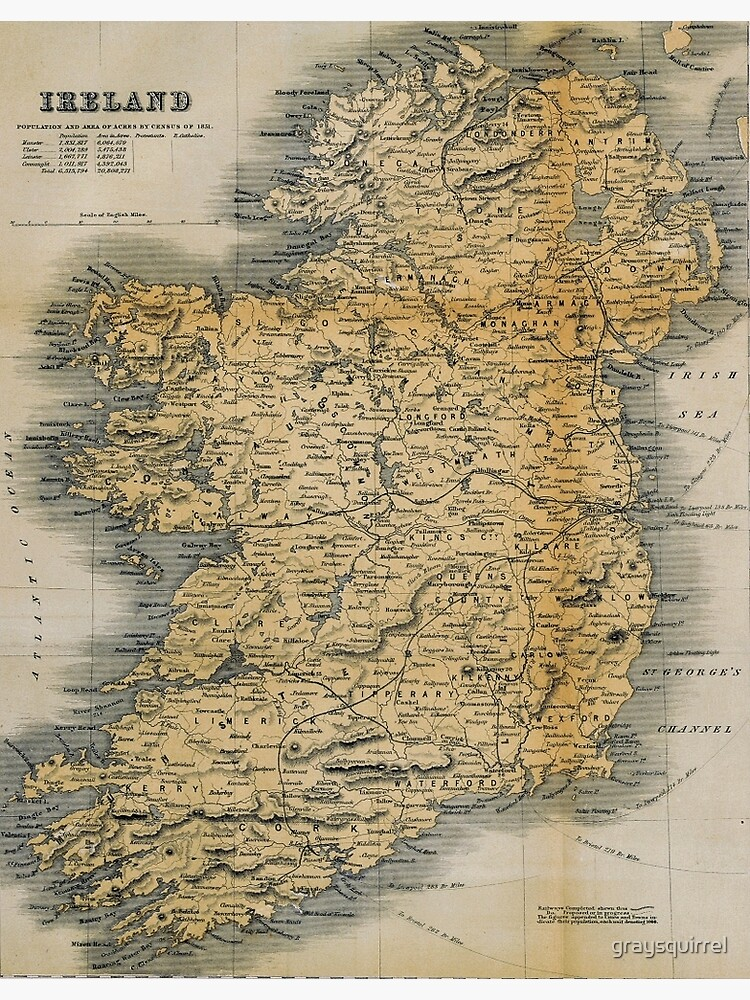 Old-style map of Ireland | Canvas Print