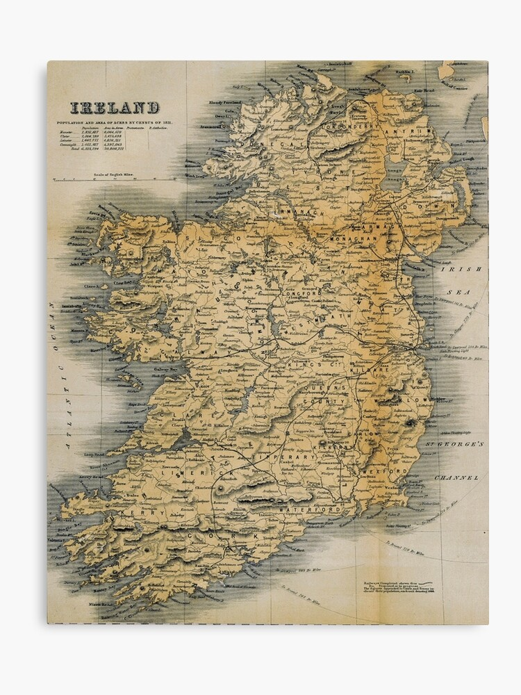 Print Map Of Ireland.Old Style Map Of Ireland Canvas Print
