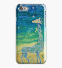 Funny giraffe meet aliens.Funny communication illustration. Kids style hand drawn illustration. iPhone Case/Skin