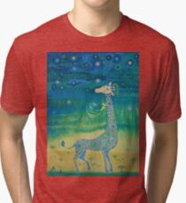 Funny giraffe meet aliens.Funny communication illustration. Kids style hand drawn illustration. Tri-blend T-Shirt