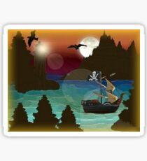 Pirate Ship Moonlight Voyage  Sticker