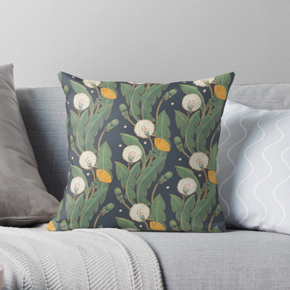 dandelion seamless pattern Throw Pillow