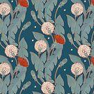 dark pattern with dandelion  by Maria Khersonets