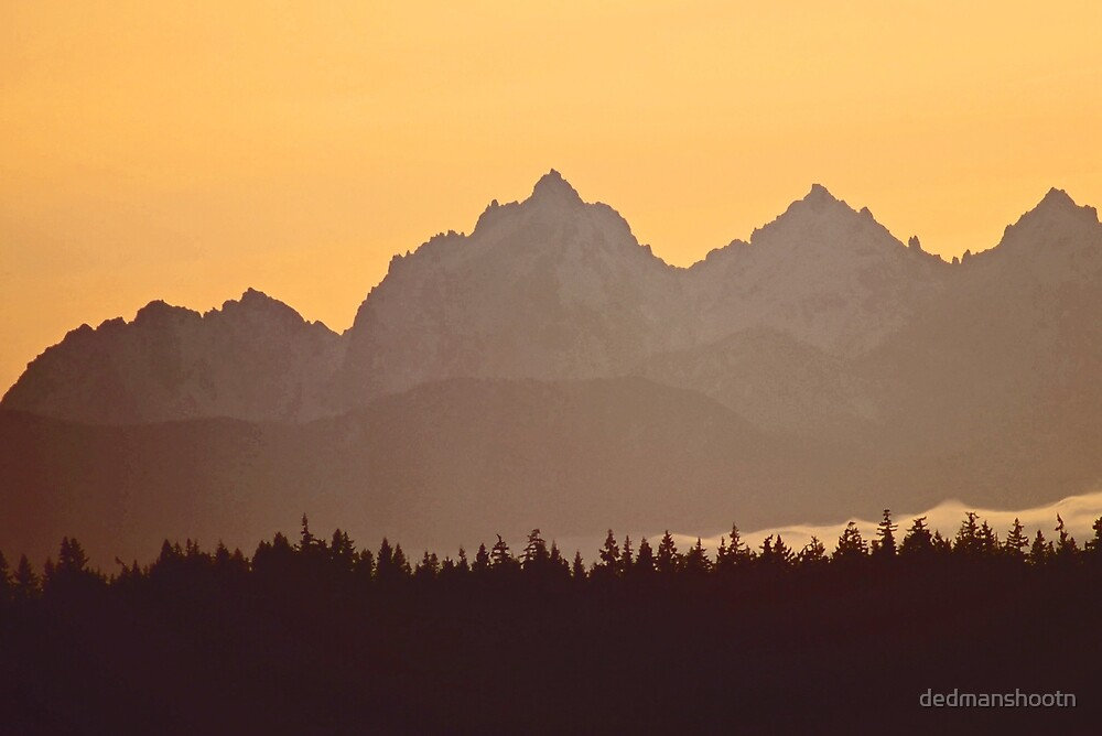southern olympic mtn sunset, washington, usa by dedmanshootn