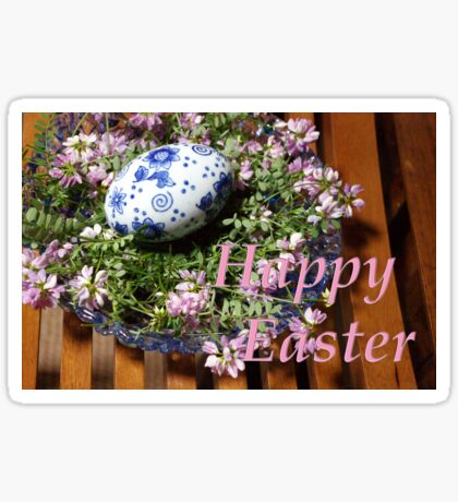 happy easter egg and flowers Sticker