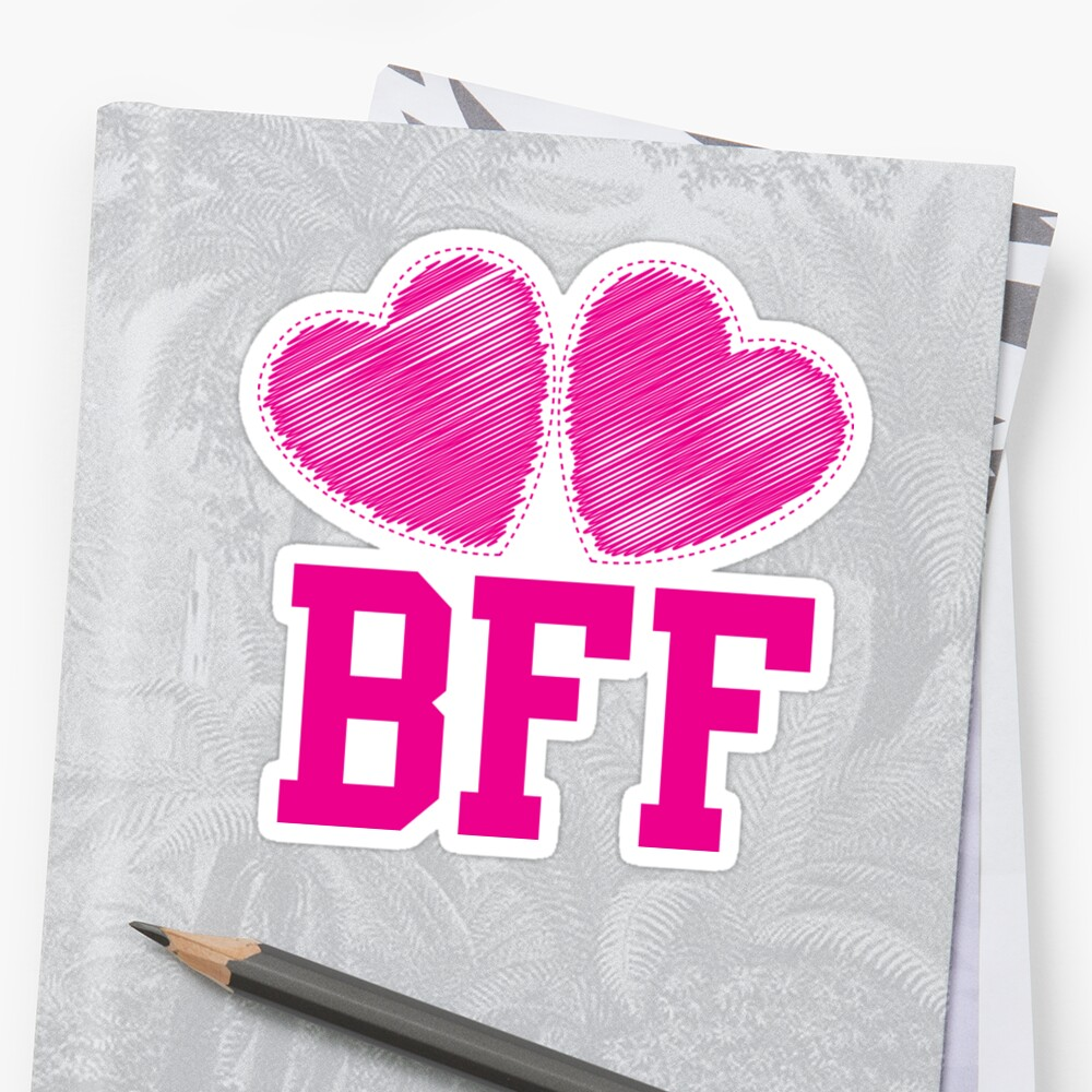 """""""bff with cute pink hearts best friends forever"""" sticker"""