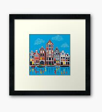 Amsterdam canal and houses Framed Print